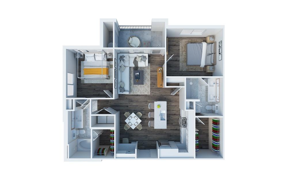 B2 2 Bed 1.5 Bath Floorplan